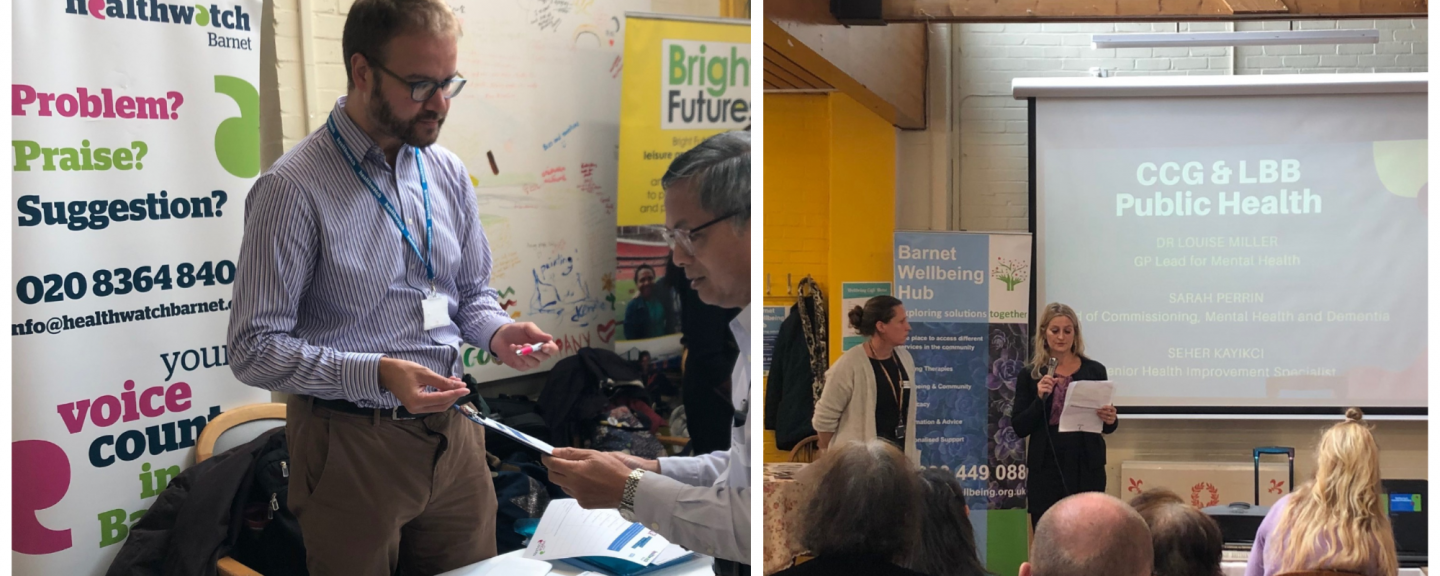 A collage of three photos. One with a male Healthwatch representative talking to a another man, another photo of some people dancing, another photo of two women standing delivering a presentation