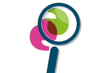 Magnifying glass and speech marks