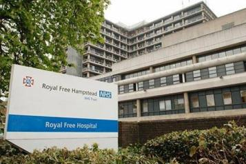 The Royal Free Hosital building with a sign outside that says The Royal Free Hopsital Heampstead