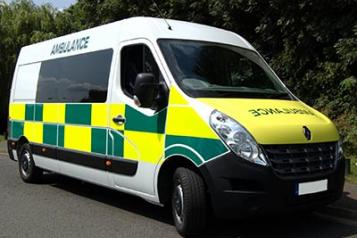 Yellow and white ambulance for patients