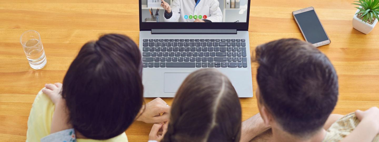 Family having virtual consultation