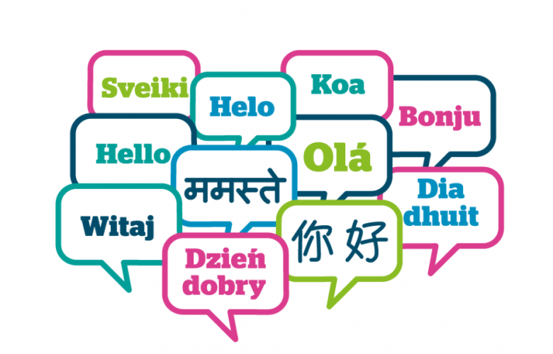 Hello and welcome signs written in different languages in speech bubbles.