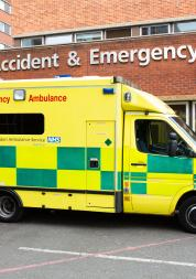 An ambulance parked outside an Accident and Emergency Department of a hospital